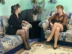 Mature sluts Karoline and Giselle enjoy ardent banging with three men