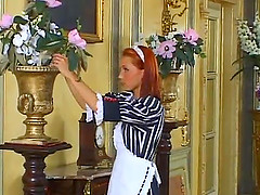 Hardcore rear banging clip with skinny redhead maid Kathy Divan