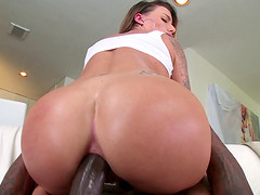 Showing her delicious love holes and getting rammed