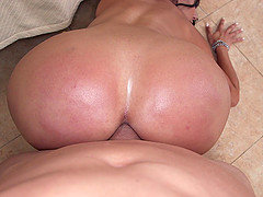 Diamond Kitty gets her hot ass oiled then fucked doggystyle on the couch