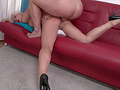Cool blonde in high heels gets her ass worked over by a hung guy
