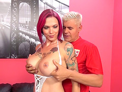 Amazing tattooed MILF with purple hair enjoys kinky fucking