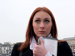 Breathtaking redhead picked up for a fantastic POV fuck
