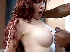 Interracial Hardcore pounding with a redhead being fucked in positions