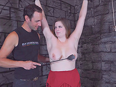 Thick brunette chick bound in the dungeon by a master