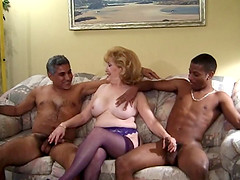 Chubby mature pornstar moans while getting pounded in a wild interracial mmf threesome