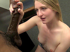 Hot blonde showcases her strength in massaging huge cocks till they leak