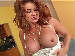 Redhead cougar with fake tits licking huge balls lovely